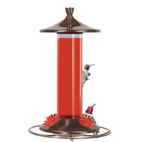 Birdscapes Brushed Metal Glass Hummingbird Feeder