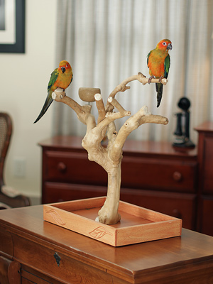 Java wood table stand for birds